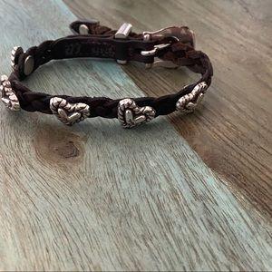 Brighton Braided Leather Heart Bracelet